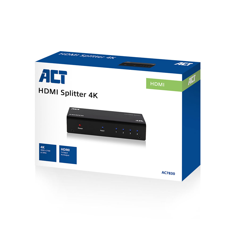 ACT 1x 4 HDMI splitter, 3D and 4K support