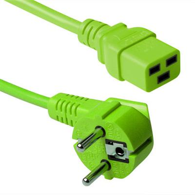 ACT Powercord mains connector CEE7/7 male (angled) - C19 green 3.00 m