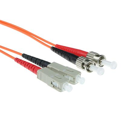 ACT 0.5 meter LSZH Multimode 62.5/125 OM1 fiber patch cable duplex with ST and SC connectors